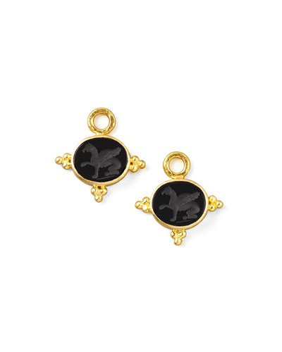 19k Gold Grifo Venetian Glass Earring Pendants, Black