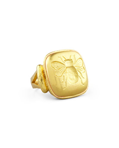 19k Gold Bee Cushion Ring