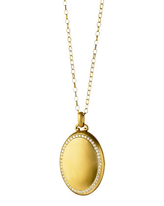 Pave Diamond Gold Oval Locket Necklace