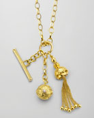 18k Gold Tassel/Toggle/Ball Charm Necklace