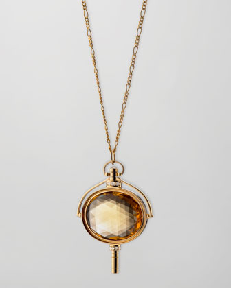 Pocket Watch Key Honey Quartz Oval Necklace