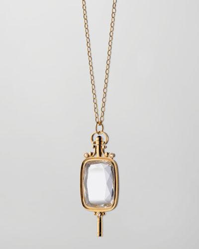 Pocket Watch Key Rock Crystal Necklace