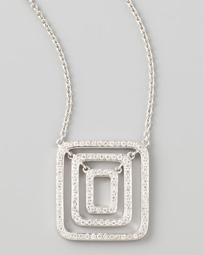 Piece 18k White Gold Diamond Pendant Necklace