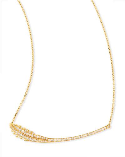 Phoenix 18k Yellow Gold Diamond Feather Necklace