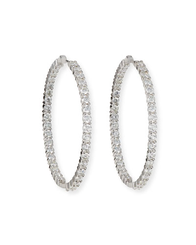 Quick Look Roberto Coin 46mm White Gold Diamond Hoop Earrings