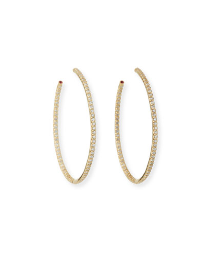 45mm Yellow Gold Diamond Hoop Earrings, 1.4ct
