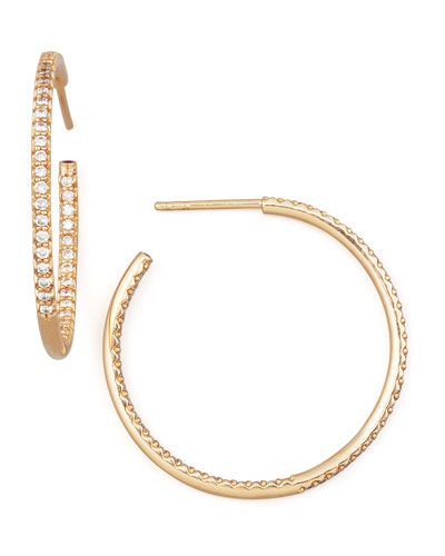 30mm Rose Gold Diamond Hoop Earrings, 0.98ct