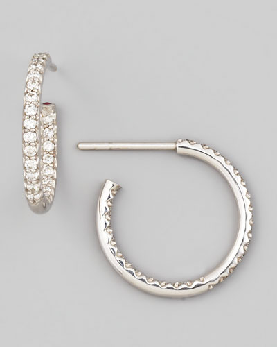 18mm White Gold Diamond Hoop Earrings, 0.52ct