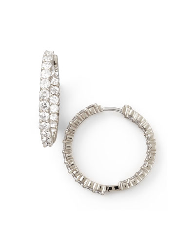 35mm White Gold Diamond Hoop Earrings, 3.43ct