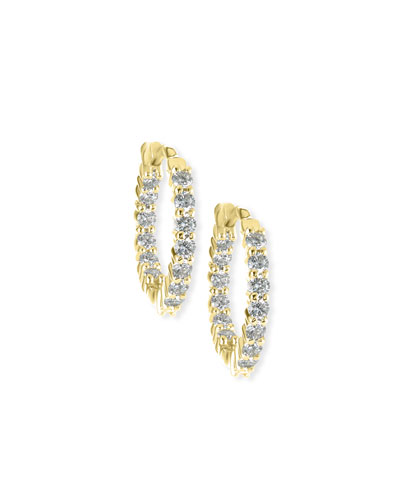 35mm Yellow Gold Diamond Hoop Earrings, 3.43ct
