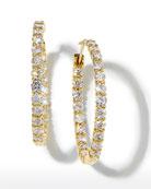 35mm Yellow Gold Diamond Hoop Earrings, 5.55ct