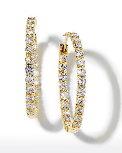 35mm Yellow Gold Diamond Hoop Earrings, 5.55ct