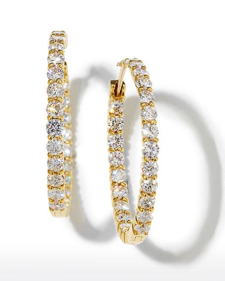 Roberto Coin 35mm Yellow Gold Diamond Hoop Earrings, 5.55ct