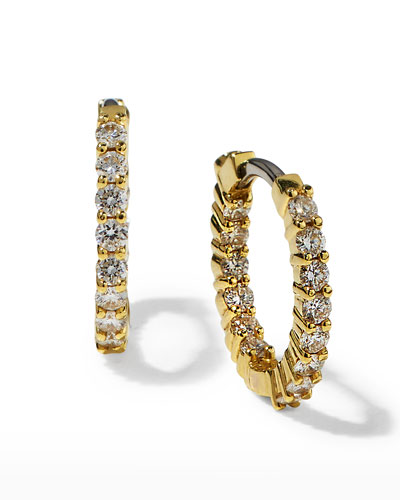 16mm Yellow Gold Diamond Huggie Hoop Earrings, .76ct