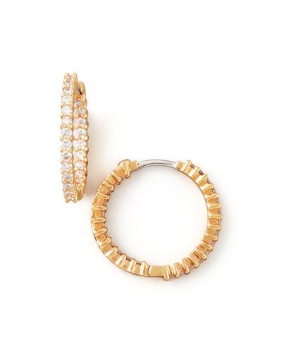 22mm Rose Gold Diamond Hoop Earrings, 1ct