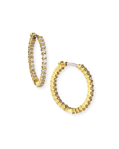 22mm Yellow Gold Diamond Hoop Earrings, 1ct