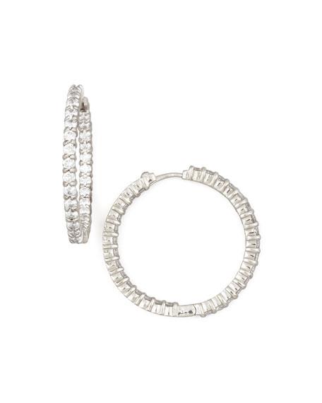 Roberto Coin 30mm White Gold Diamond Hoop Earrings, 2.84ct