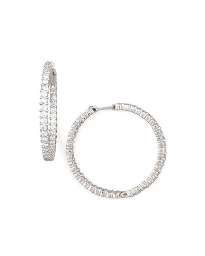 38mm White Gold Diamond Hoop Earrings, 2.46ct