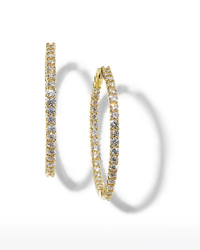 38mm Yellow Gold Diamond Hoop Earrings, 2.46ct