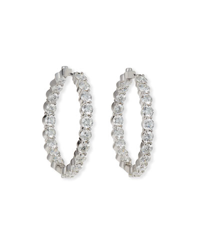 35mm White Gold Diamond Hoop Earrings, 7.21ct