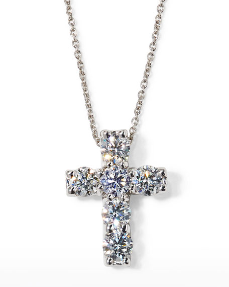 "Roberto Coin 17"" White Gold Diamond Cross Pendant Necklace, 1.06 TCW"