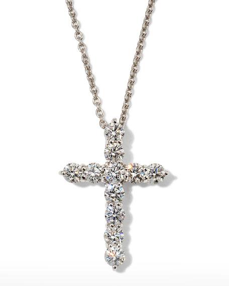 "Roberto Coin 16"" White Gold Lg Diamond Cross Pendant Necklace"