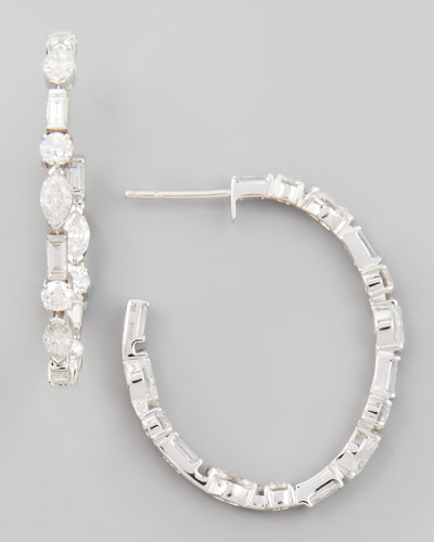 Mixed Cut Small Diamond Hoop Earrings