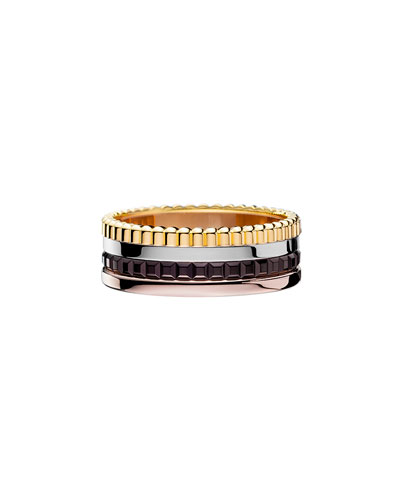 Classic Quatre 18k Four-Color Gold Small Band Ring, Size 56