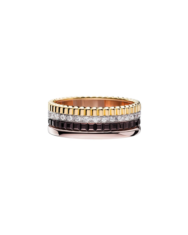 Classic Quatre 18k Four-Color Gold Small Diamond Band Ring