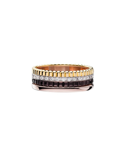 Classic Quatre 18k Four-Color Gold Small Diamond Band Ring, Size 52