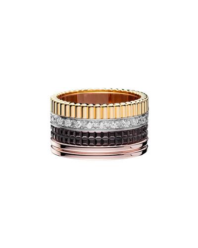 Classic Quatre 18k Gold Large Diamond Band Ring, Size 5.5