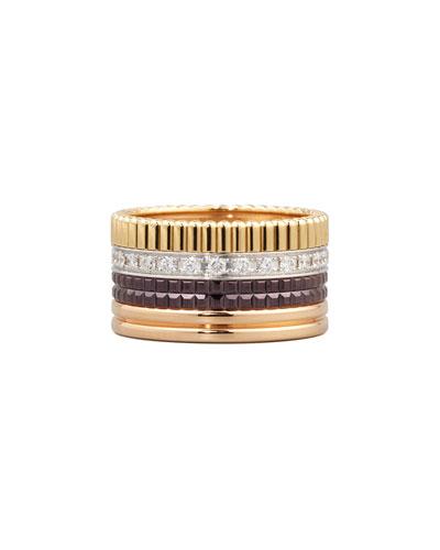 Classic Quatre 18k Gold Large Diamond Band Ring, Size 9.75