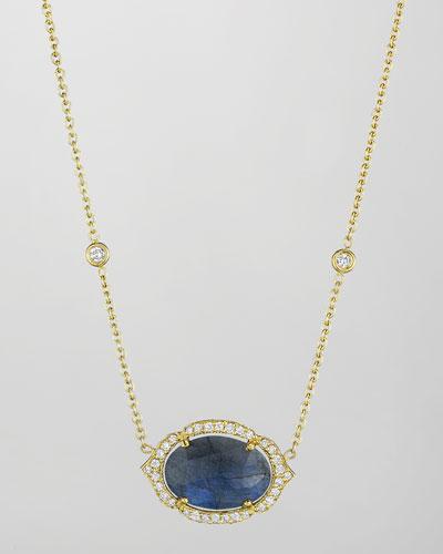 18k Labradorite & Diamond Pendant Necklace