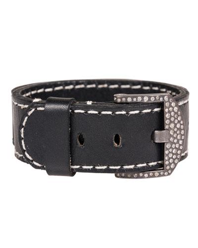 Leather Cuff Bracelet with Diamond Buckle
