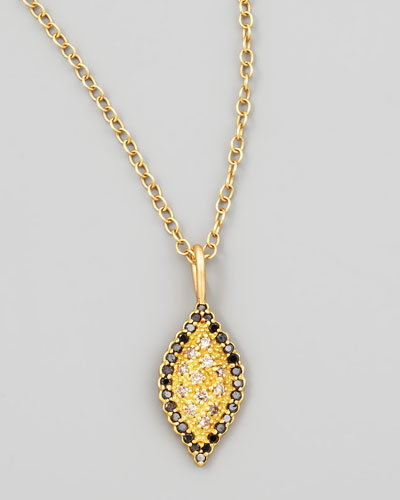 Scalloped Black/Cognac Diamond Marquise Necklace