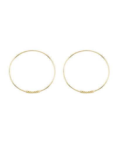 18k Caviar-Closure Hoop Earrings, 30mm