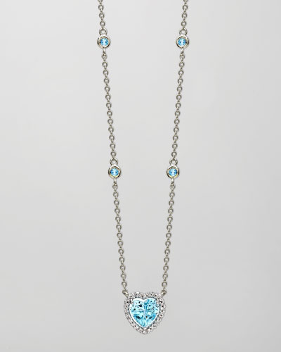Grace 18k White Gold Blue Topaz Heart Pendant Necklace