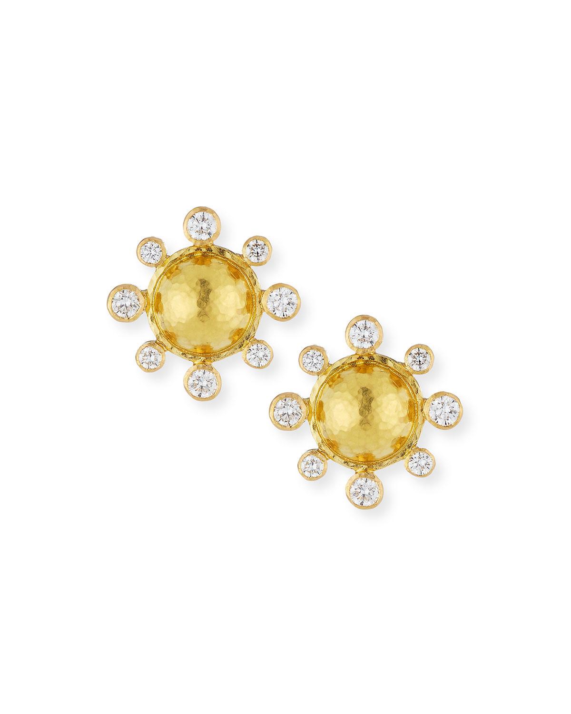 Diamond-Detailed 19k Gold Dome Earrings