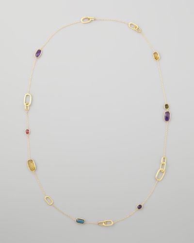 Murano 18k Mixed-Stone Station Necklace, 36