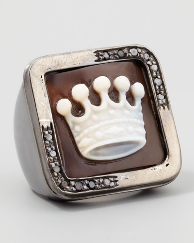 Diamond-Trim Hand-Carved Crown Cameo Ring