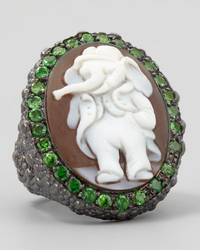 Hand-Carved Elephant Cameo Ring