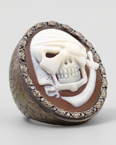 Black Diamond-Trim Pirate Skull Cameo Ring