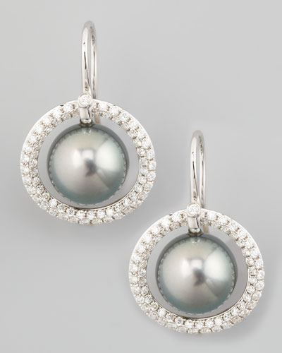 Gray South Sea Pearl & Diamond Halo Earrings, 1.15ct