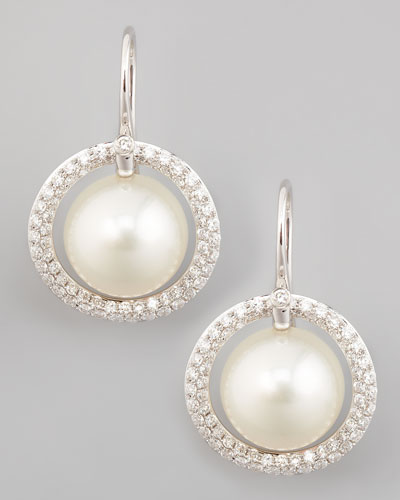 White South Sea Pearl & Diamond Halo Earrings, 1.15ct