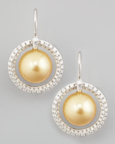 Golden South Sea Pearl & Diamond Halo Earrings, 1.15ct