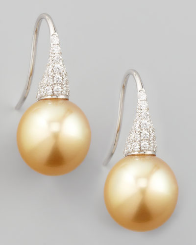 Golden South Sea Pearl & Diamond Drop Earrings, 0.44ct