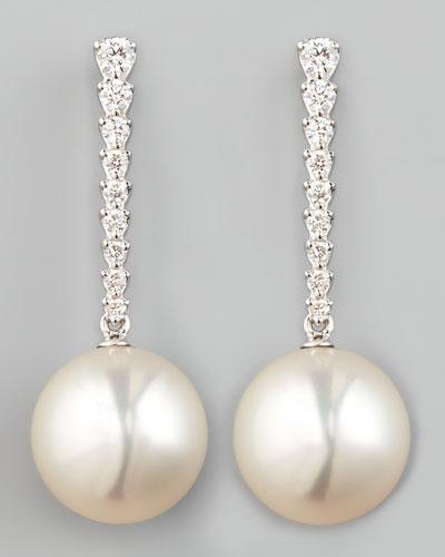 White South Sea Pearl & Diamond Bar Drop Earrings
