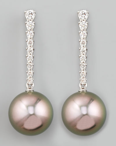 Gray South Sea Pearl & Diamond Bar Drop Earrings