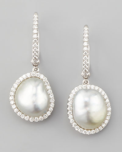 White South Sea Pearl & Diamond Framed Drop Earrings, White Gold