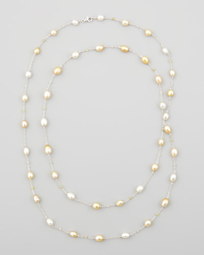 White/Golden Keshi Pearl & Diamond Necklace, 40